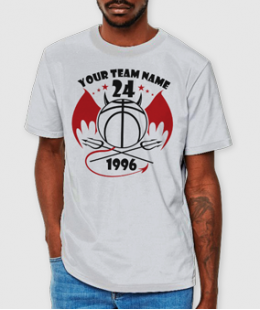 WITH A DEVIL'S GRIN!-BASKETBALL CUSTOM TEE